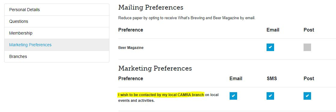 Screen capture of Preferences tab on CAMRA website